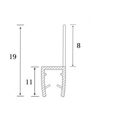 PVC tarpinė stiklas/ grindys S-5702 2,5m