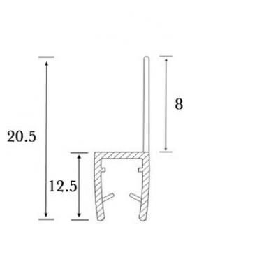 PVC tarpinė stiklas/ grindys S-5702 2,5m 4
