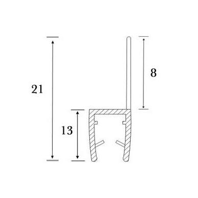 PVC tarpinė stiklas/ grindys S-5702 2,5m 5