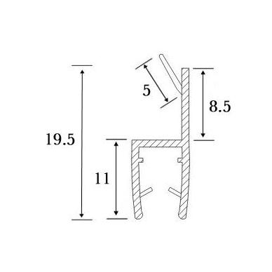 PVC tarpinė stiklas/ stiklas 180' S-5706 L-2,5m,