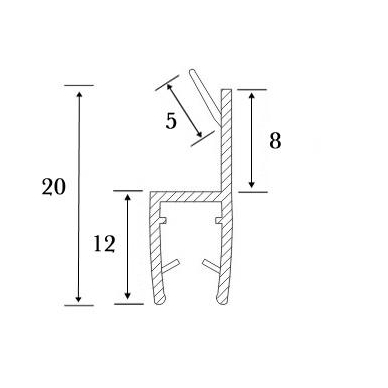 PVC tarpinė stiklas/ stiklas 180' S-5706 L-2,5m, 3