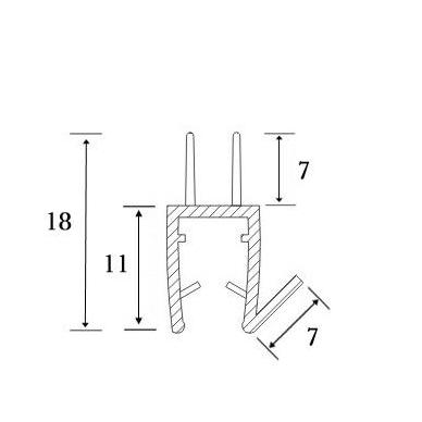 PVC tarpine stiklas/ grindys S-5707 L-2,5m