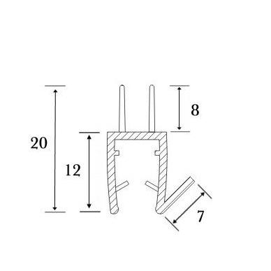 PVC tarpine stiklas/ grindys S-5707 L-2,5m 3