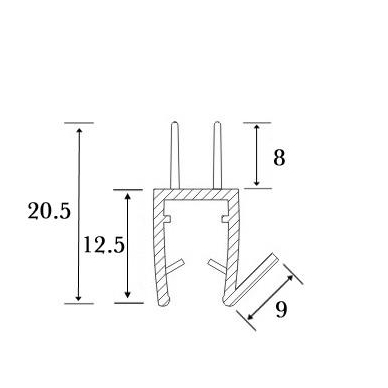 PVC tarpine stiklas/ grindys S-5707 L-2,5m 4