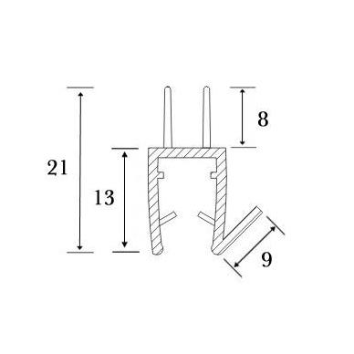 PVC tarpine stiklas/ grindys S-5707 L-2,5m 5