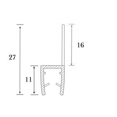 PVC tarpinė stiklas/ grindys S-5714   stiklui L-2,5 m