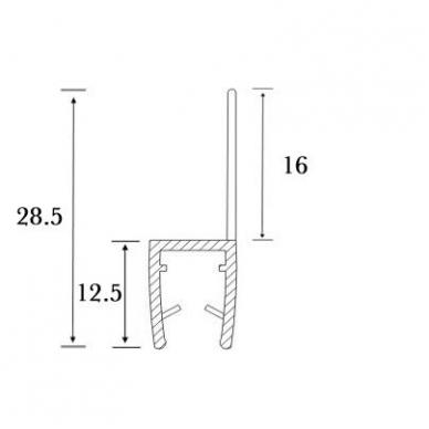 PVC tarpinė stiklas/ grindys S-5714   stiklui L-2,5 m 4