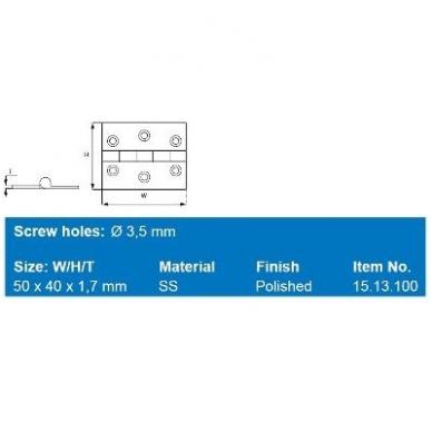 Lankstukas 50x40x1,7 mm, D.7,5 mm, SS-316 2