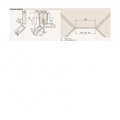 +45 laipsnių lankstas BLUM + CLIP plokštelė 0 mm 2