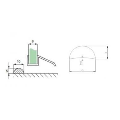 Akrilo profilis 5 mm L-2,5 m, skaidrus 2