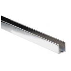 Aliuminio U-profilis 6 mm stiklui, 2,3m, chromas