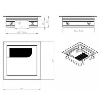Aliuminio dangtelis RUMBA 80x80x24 mm su šepetėliu 2