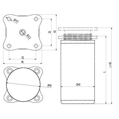 Aliuminio kojelė D.40mm,reguliuojama 2