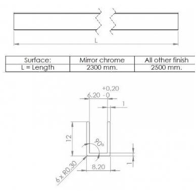 Aliuminio U-profilis 6 mm stiklui, 2,3m, chromas 2