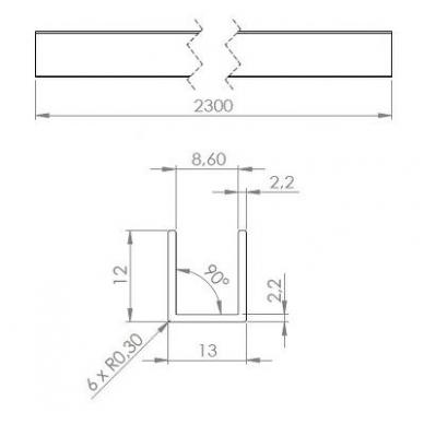 Aliuminio U-profilis 8 mm stiklui L-2,5 m, pol. alium. 2
