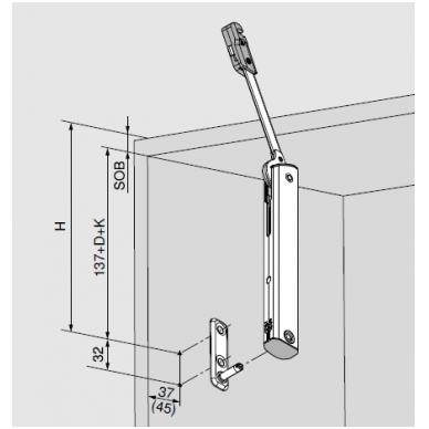 AVENTOS HK-XS jėgos mechanizmai 11 (1 lygis), koef. 200-1000 2