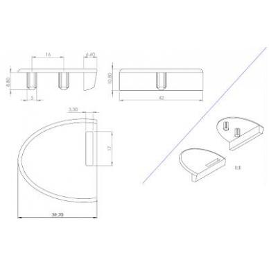 Briaunos plokštelė stiklo spynelei BADGE, aliuminis 5