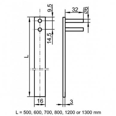 Centrinis užraktas CL-X1018/ 800 mm D.19x20-42,5 mm 2