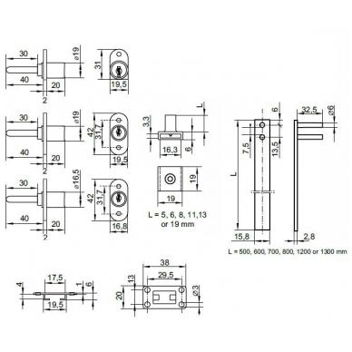 Centrinis užraktas CL-X1018/700 D.19x20-42,5mm, užraktas iš priekio 2