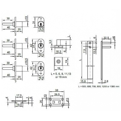 Centrinis užraktas MIC-1018/600 mm D.19x20-42,5 mm su visrakčiu 2