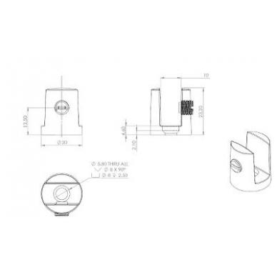 Cilindrinis lentynos laikiklis D20 mm 8-11mm stiklui 4