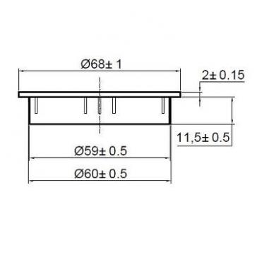 Dangtelis komp.laidams D.60x18 mm su guma, nerūd.plieno imitacija 2