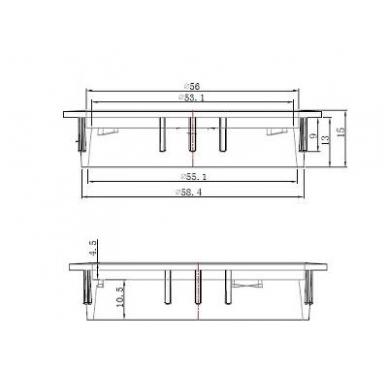 Dangtelis laidams D.60x13 mm su šepetėliu, chromas 2
