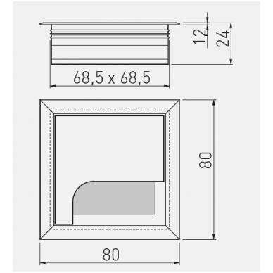 Dangtelis laidams su šepetėliu MERIDA 80x80 mm, anod. aliuminis 2