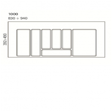 Dėklas į stalčių 100cm, pilkas 2