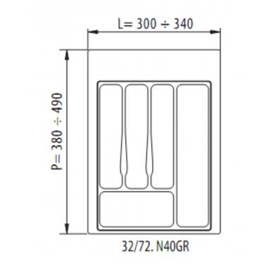 Dėklas į stalčių 40cm,pilkas 2