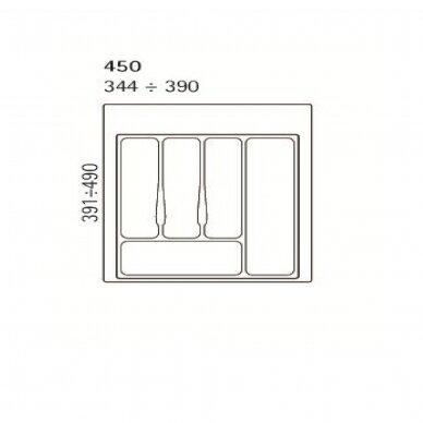 Dėklas į stalčių 45 cm, pilkas 2