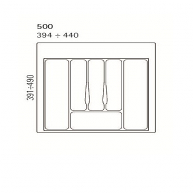 Dėklas į stalčių 50 cm, baltas 2