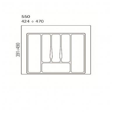 Dėklas į stalčių 55 cm, baltas 2