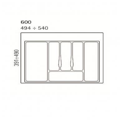 Dėklas į stalčių 60 cm, baltas 2