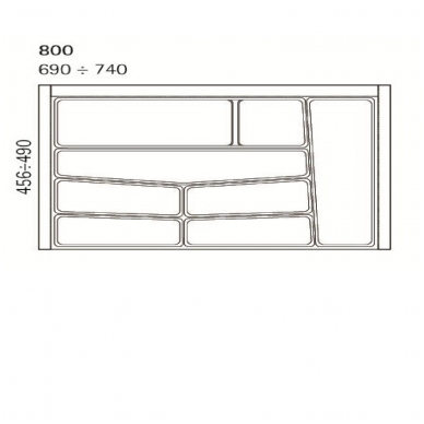 Dėklas į stalčių 80 cm, baltas 2