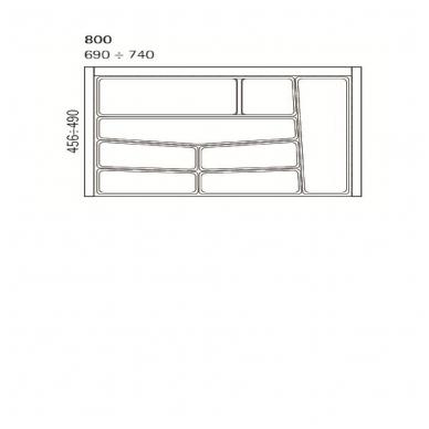 Dėklas į stalčių 80cm, pilkas 2