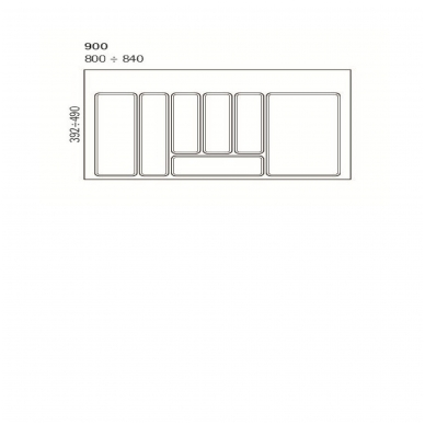 Dėklas į stalčių 90cm, pilkas 2