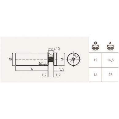 Distancinis stiklo laikiklis D.16 mm, inox 2