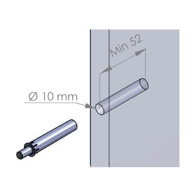 Durelių smūgio amortizatorius D.10x50 mm, pilkas 2