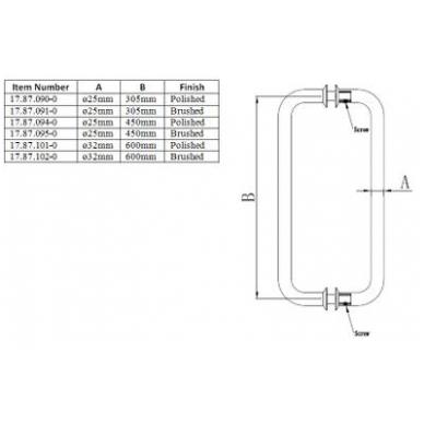 Durų rankena D.32x600 mm, SS304 poliruota 2