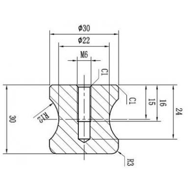 Durų rankenėlė WIEN D.30 mm, 6-12 mm stiklui 2