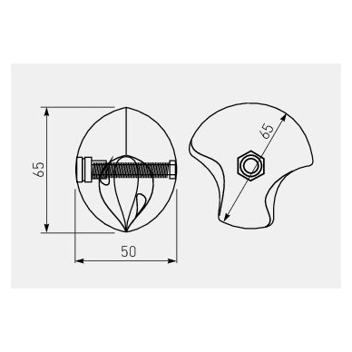 Dvikryptė sutvirtinimo detalė D.25, chromas,dešinė 2