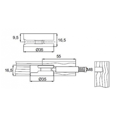 Ekscentrikas JUMBO FIX D.35x16,5 mm, 6 mm Hex 2