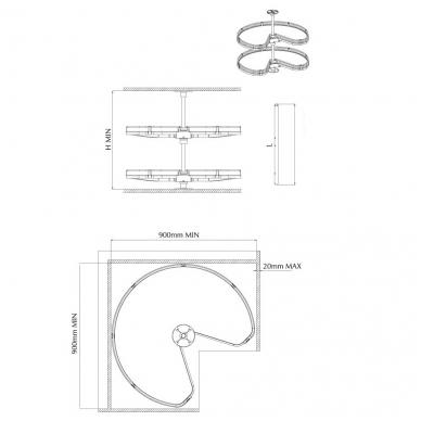 GIRO 3/4 karuselė D.800 mm, pilka-chromas 2