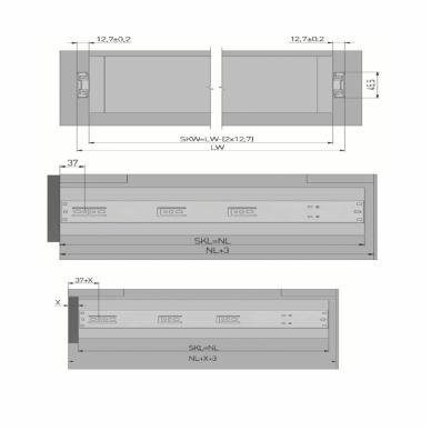 Guoliniai bėgeliai H.45 mm su pritraukimu Versalite 2