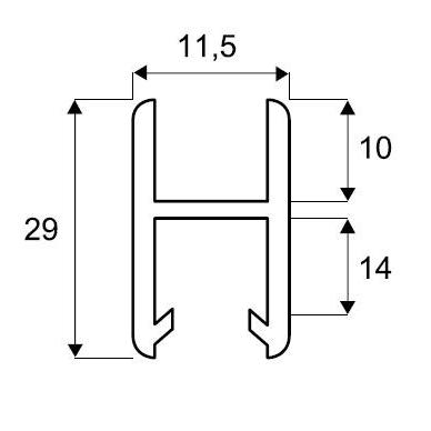 H-tipo aliuminio bėgelis sistemai 2740, 2m 2