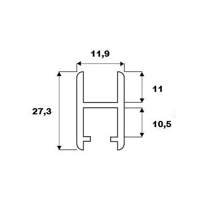 H-tipo aliuminio bėgelis stiklo sistemai 8600, 2 m 2