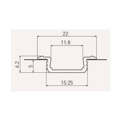 Įfrezuojamas aliuminio profilis LED juostai L-2 m, GTV 2