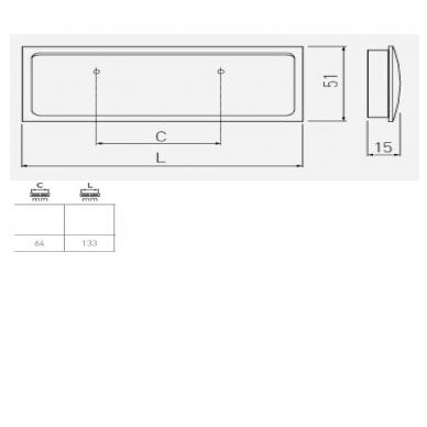 Įleidžiama rankenėlė R132 132x50 mm, inox 2