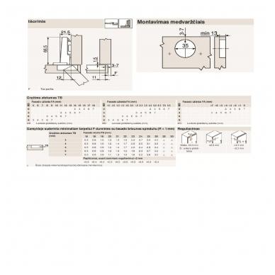 Išorinis BLUM lankstas su integruotu slopintuvu + CLIP plokštelė 0 mm 2